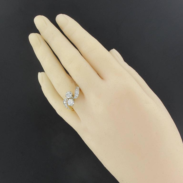 New French Diamond Platinum Gold Toi et Moi Engagement Ring In As New Condition For Sale In Poitiers, FR
