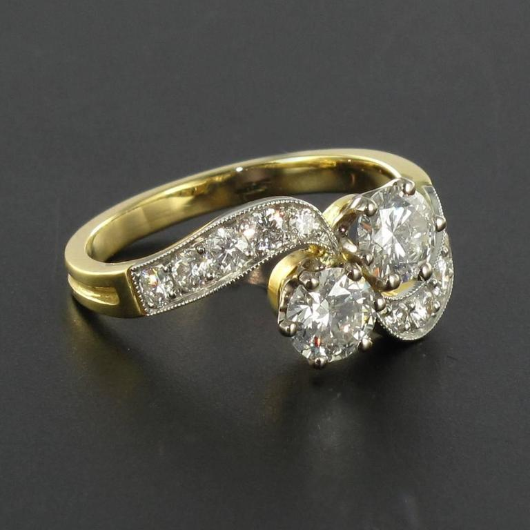 Napoleon III New French Diamond Platinum Gold Toi et Moi Engagement Ring For Sale