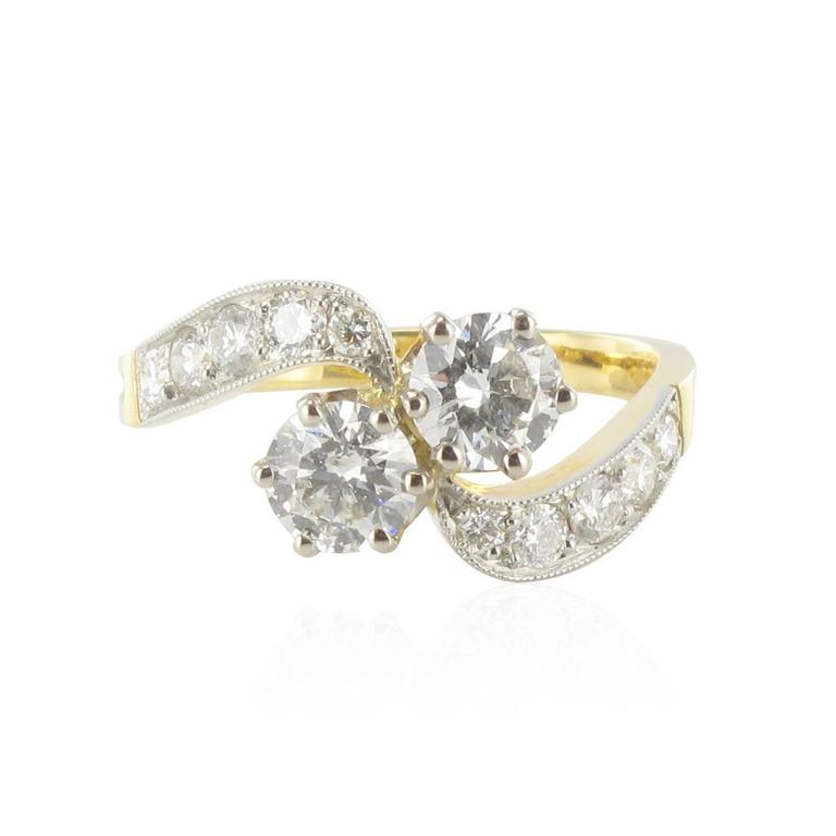 New French Diamond Platinum Gold Toi et Moi Engagement Ring For Sale 2