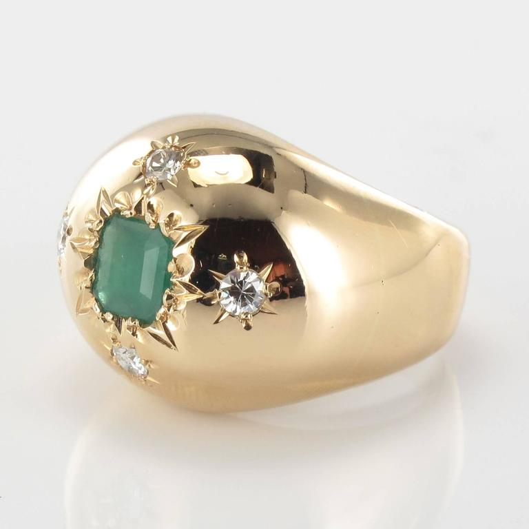 1960s Domed Emerald Diamond Gold Ring 3