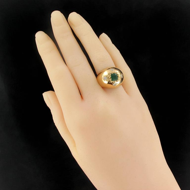 Emerald Cut 1960s Domed Emerald Diamond Gold Ring For Sale