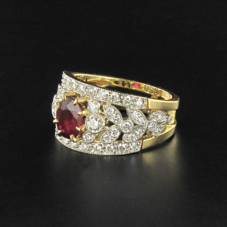 French Ruby Diamond Gold Platinum Band Ring  5