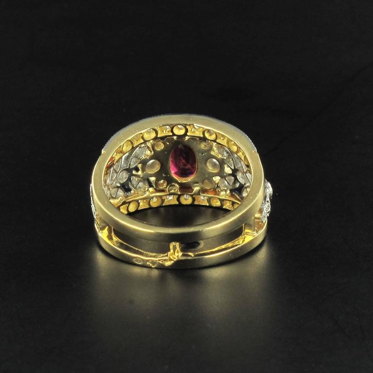 French Ruby Diamond Gold Platinum Band Ring  6