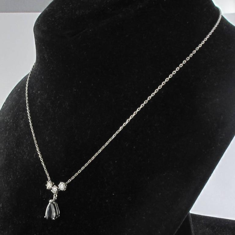 White gold Sapphire and Diamond Pendant Necklace 5