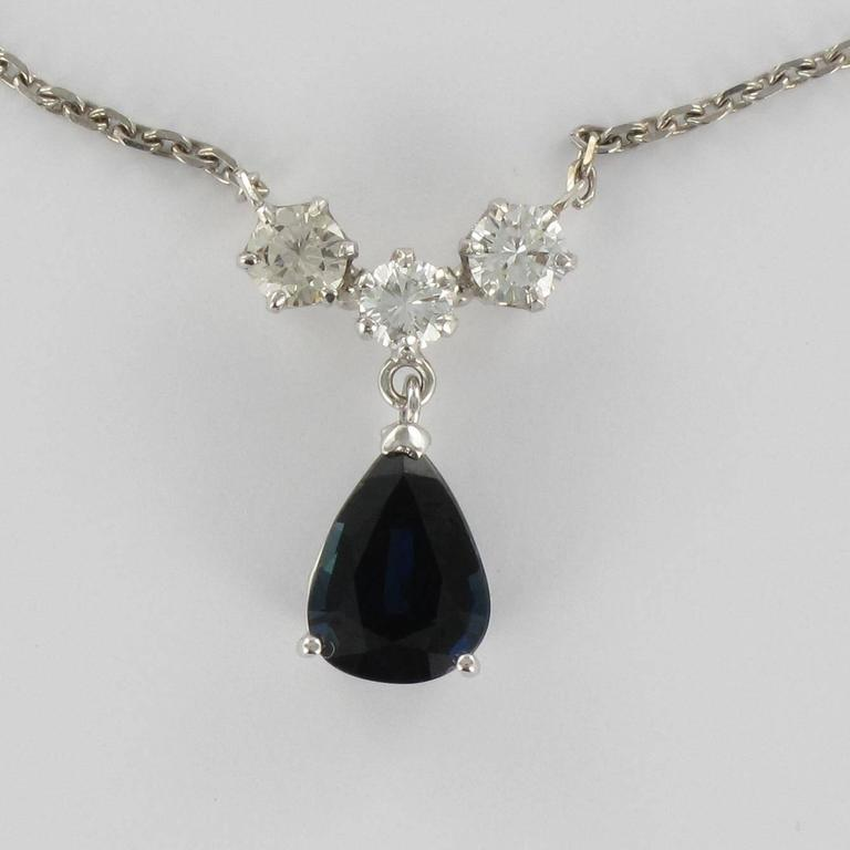 White gold Sapphire and Diamond Pendant Necklace 2