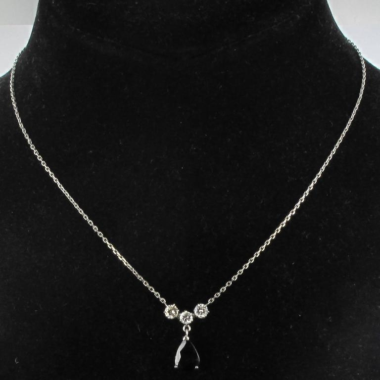 White gold Sapphire and Diamond Pendant Necklace 6