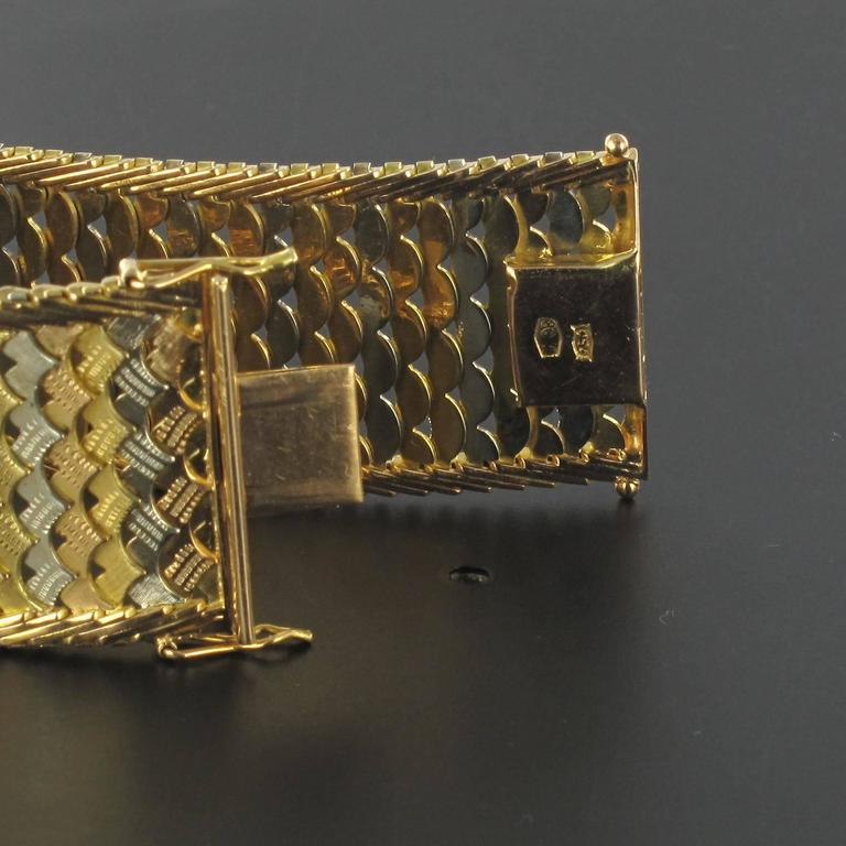 1960s Two Color Gold Woven Bracelet  For Sale 2