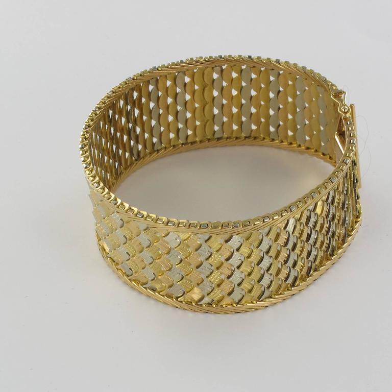 Women's 1960s Two Color Gold Woven Bracelet  For Sale
