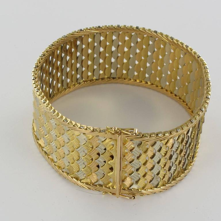 1960s Two Color Gold Woven Bracelet  For Sale 1