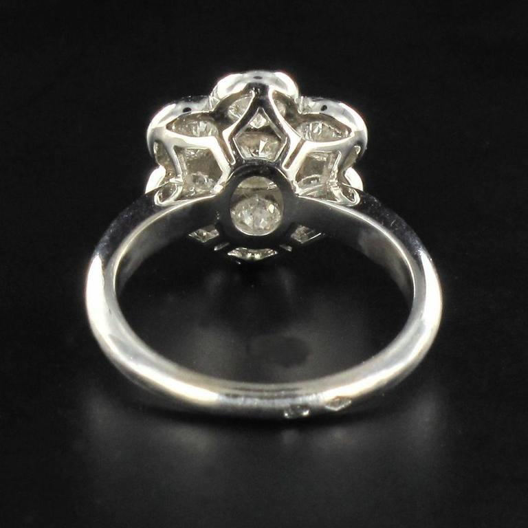 Women's Contemporary Diamond Gold Cluster Ring For Sale