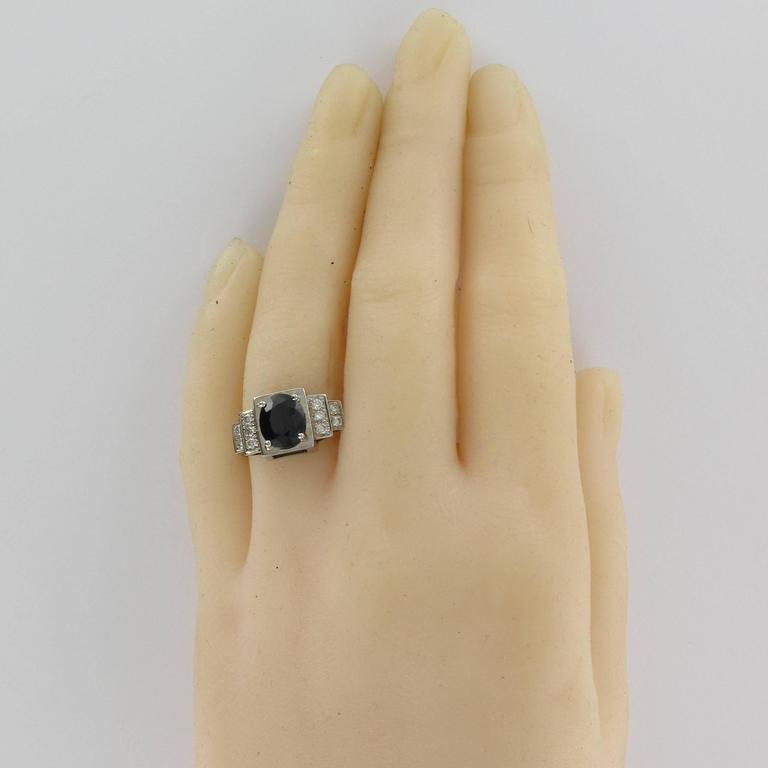 Oval Cut Contemporary Sapphire Diamond Gold Ring For Sale