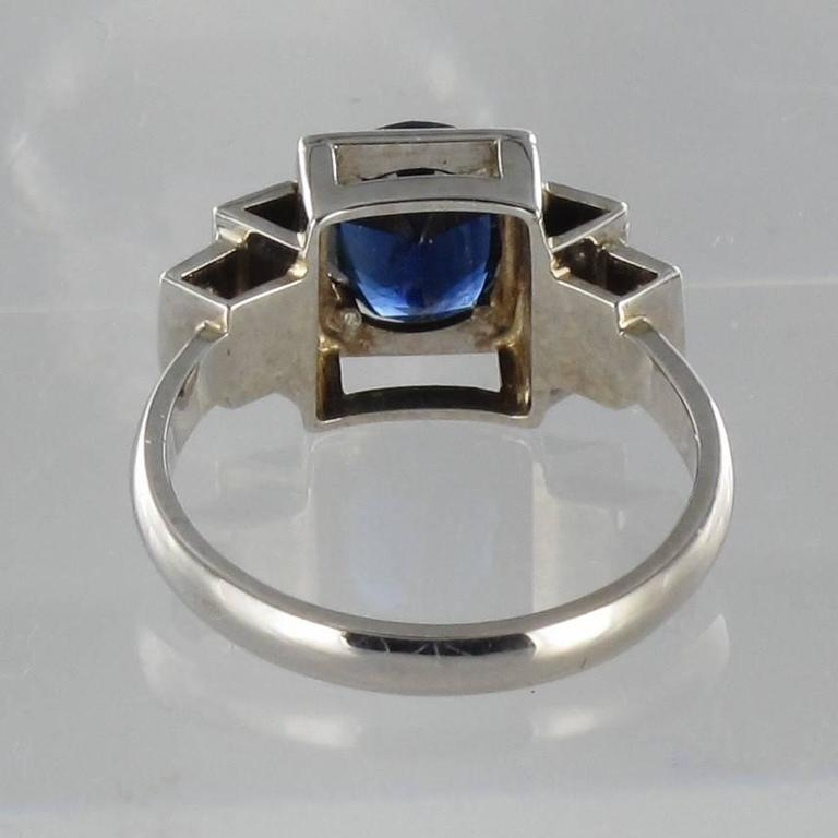 Contemporary Sapphire Diamond Gold Ring In As New Condition For Sale In Poitiers, FR