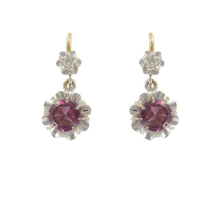 19th Century French Garnet Diamond Two Color Gold Dangle Earrings