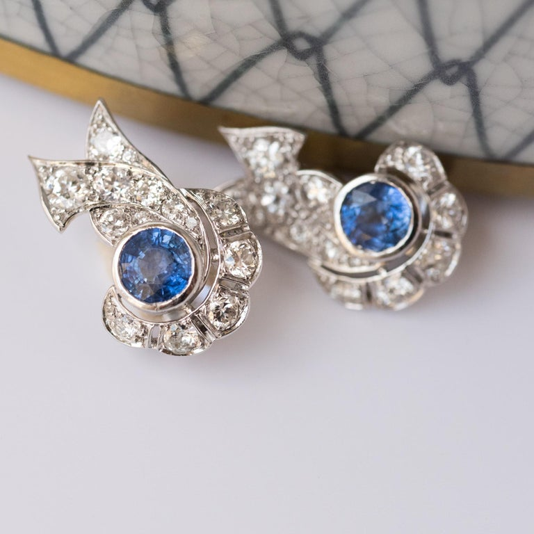 French Art Deco Sapphire and Diamond Earrings In New Condition For Sale In Poitiers, FR