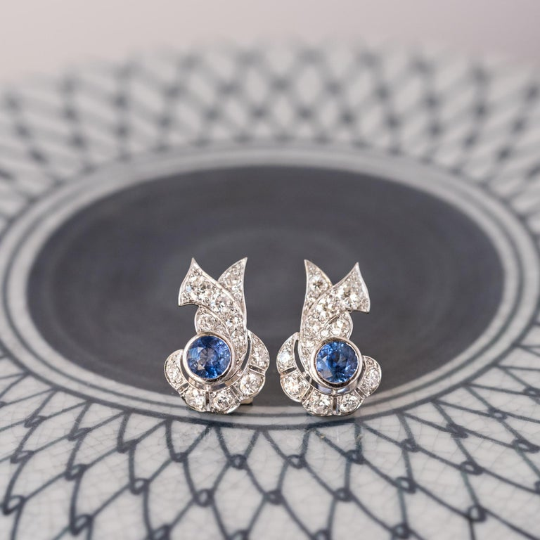 French Art Deco Sapphire and Diamond Earrings For Sale 3