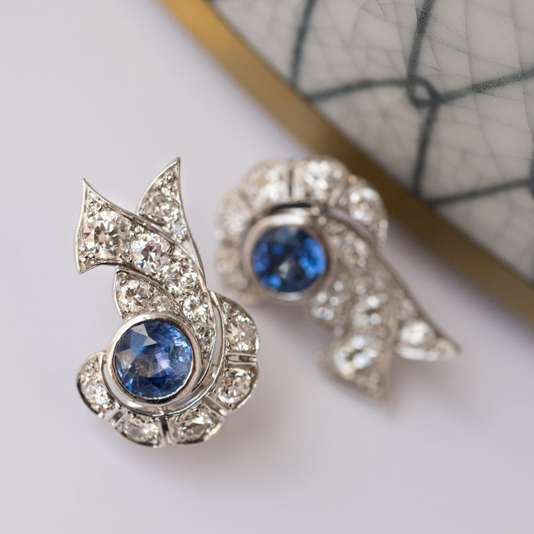 French Art Deco Sapphire and Diamond Earrings For Sale 2