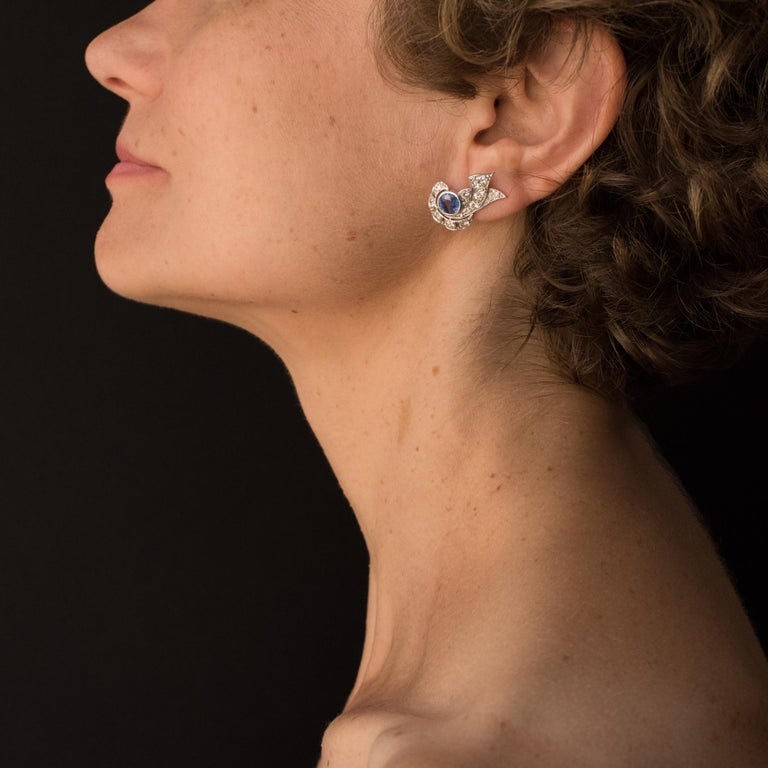 French Art Deco Sapphire and Diamond Earrings For Sale 1