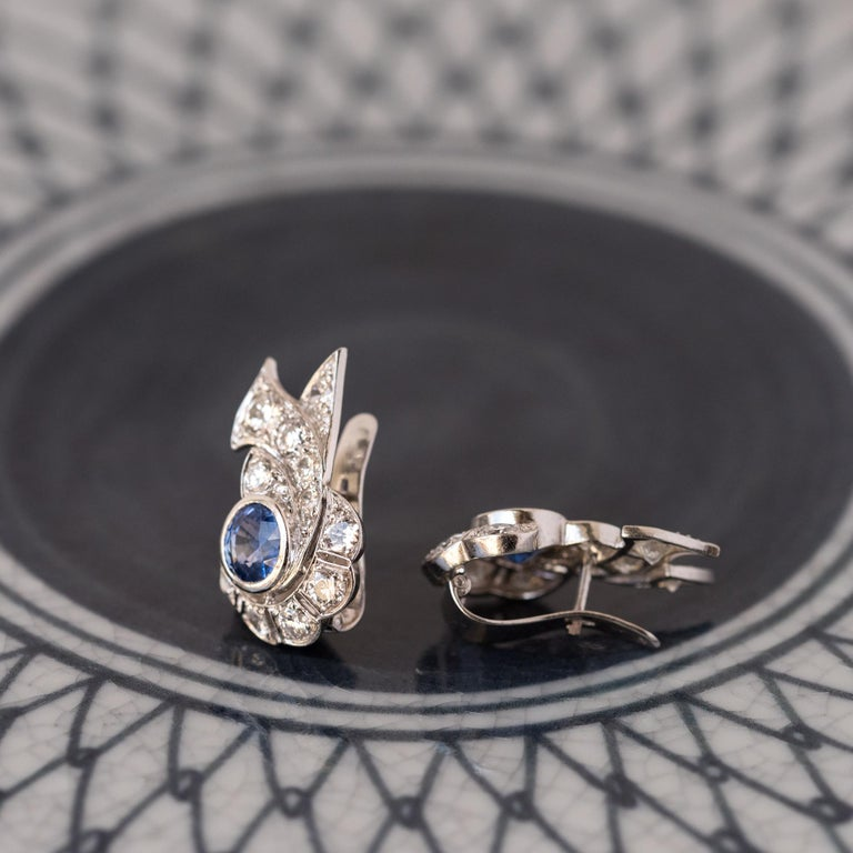 Women's French Art Deco Sapphire and Diamond Earrings For Sale