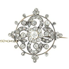Antique Diamond Silver Rose Gold Brooch