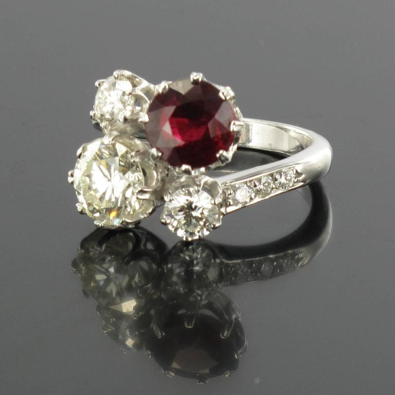 Women's Ruby Diamond and White Gold Engagement Ring For Sale