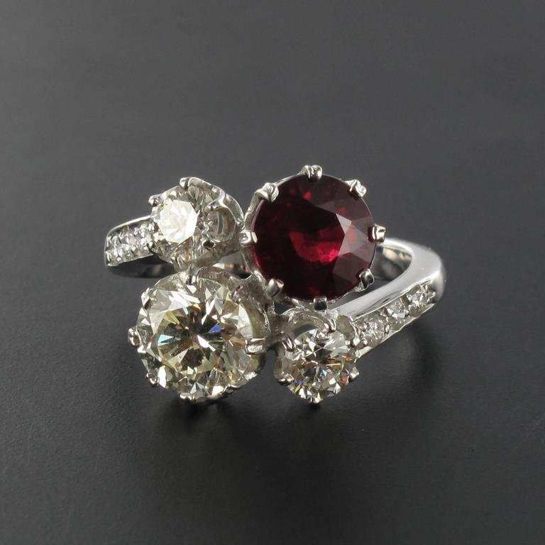Ruby Diamond and White Gold Engagement Ring For Sale 1