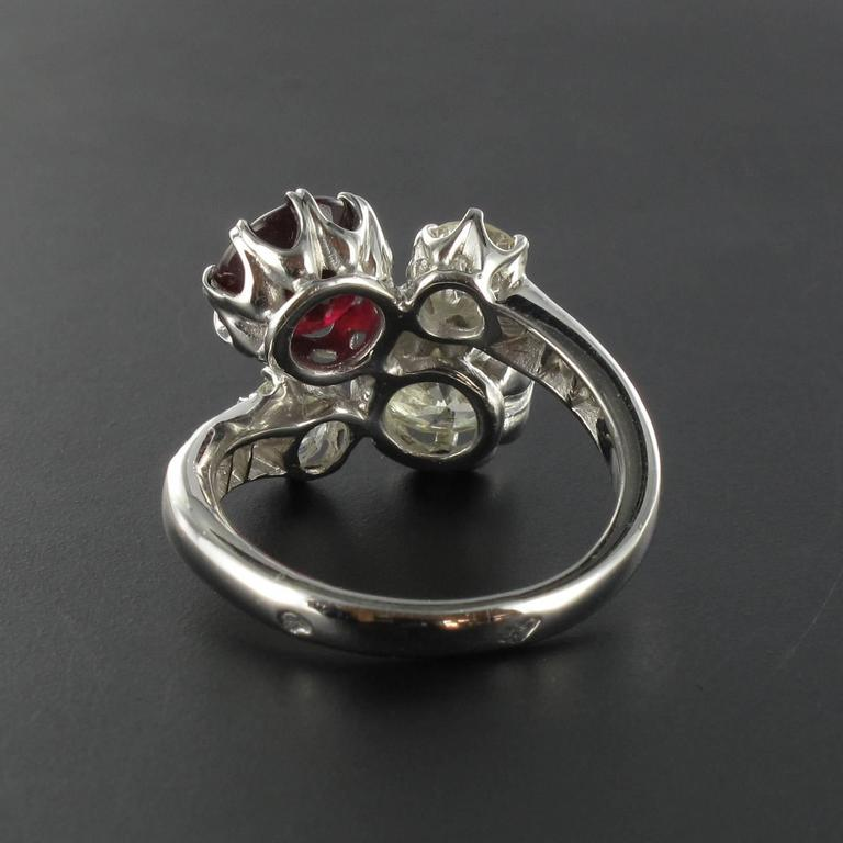 Ruby Diamond and White Gold Engagement Ring For Sale 2
