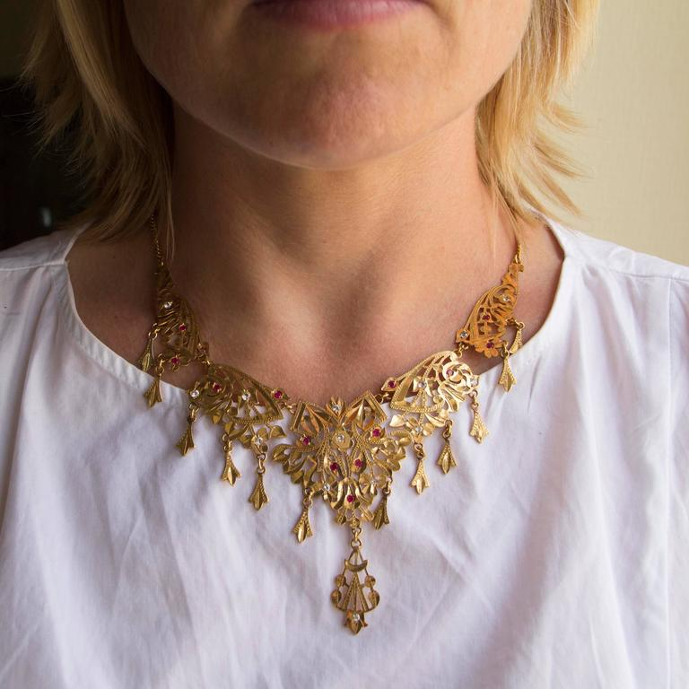 Rococo 1970s Oriental Yellow Gold Necklace For Sale
