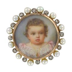 19th Century Napoleon 3 Porcelain Miniature Natural Pearl Diamond Brooch