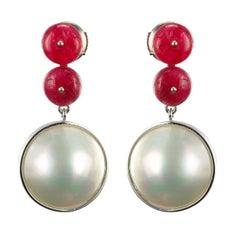 Baume 8.50 Ruby South Seas Mabé Pearl White Gold Dangle Earrings