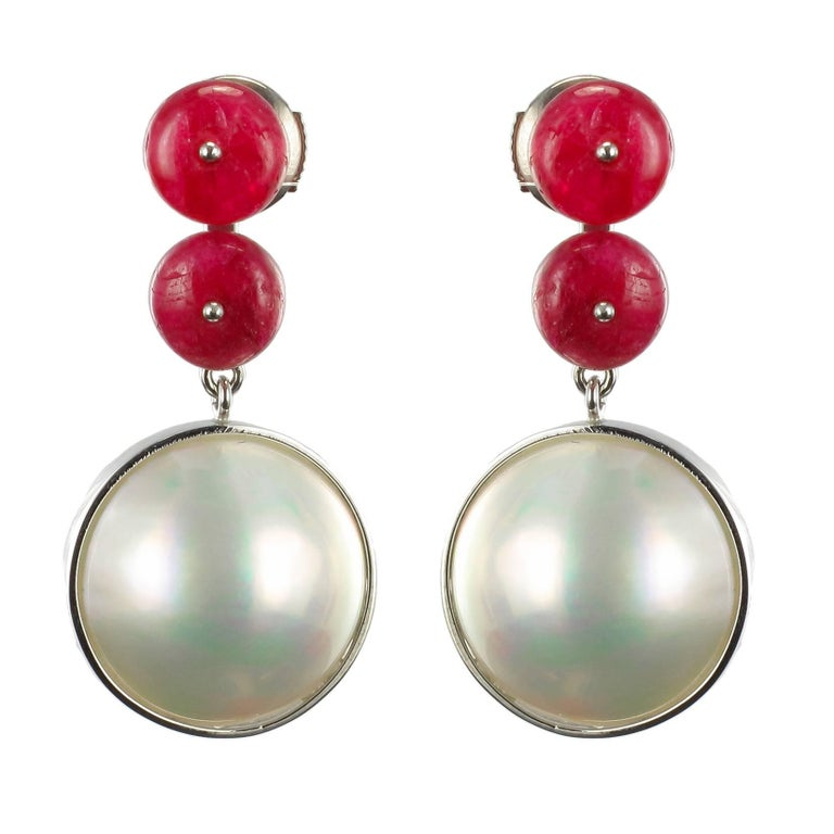 Baume 8.50 Ruby South Seas Mabé Pearl White Gold Dangle Earrings For Sale