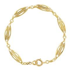 1900s French Belle Époque 18 Carat Yellow Gold Link Chain Bracelet
