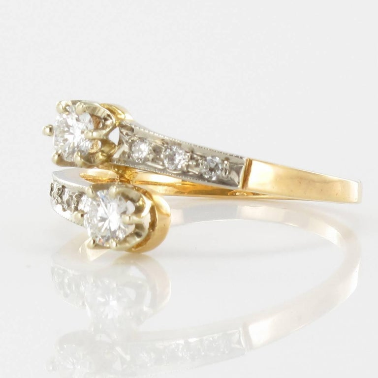 Modern French Diamond 18 Carat Yellow Gold Platinium Toi et Moi Engagement Ring For Sale