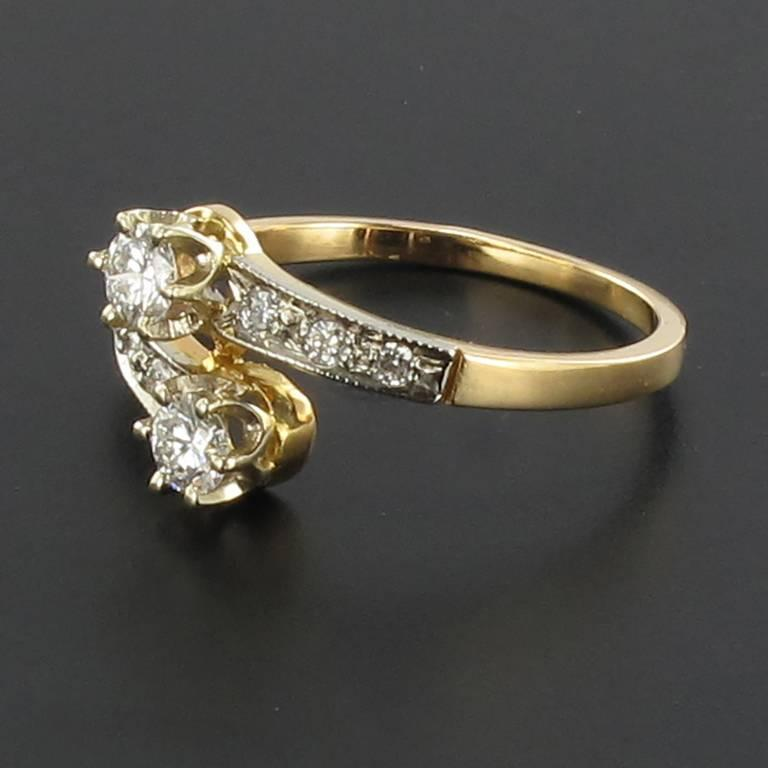 Women's French Diamond 18 Carat Yellow Gold Platinium Toi et Moi Engagement Ring For Sale