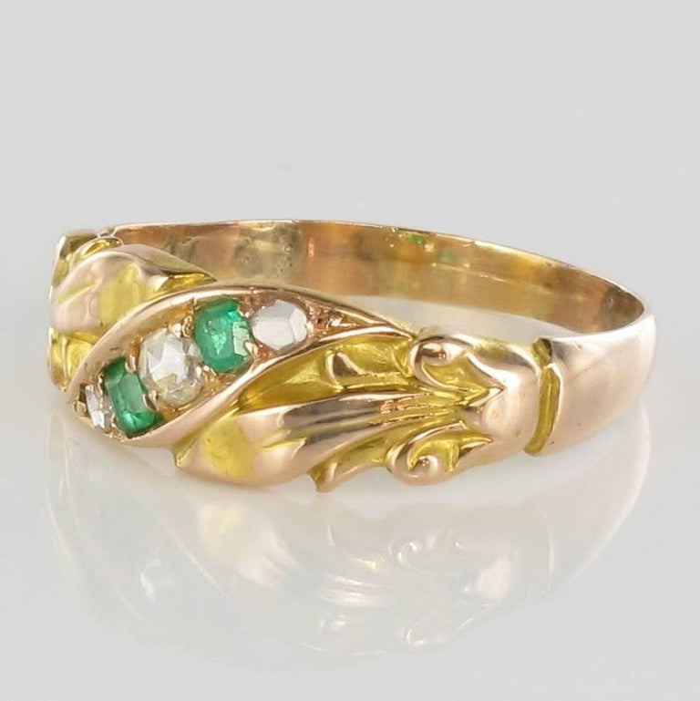 Napoleon III 1850s 18 Carat Rose Yellow Gold Diamond Emerald Fleur de Lys Band Ring For Sale