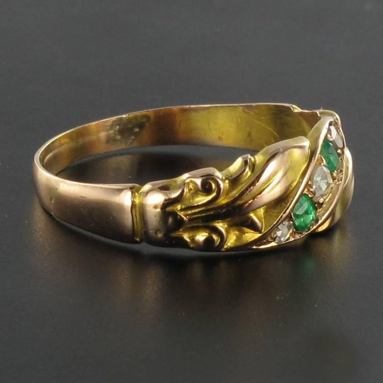 1850s 18 Carat Rose Yellow Gold Diamond Emerald Fleur de Lys Band Ring In New Condition For Sale In Poitiers, FR