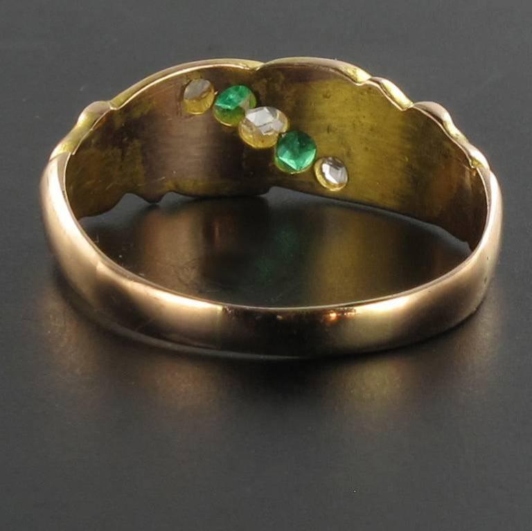 Women's 1850s 18 Carat Rose Yellow Gold Diamond Emerald Fleur de Lys Band Ring For Sale