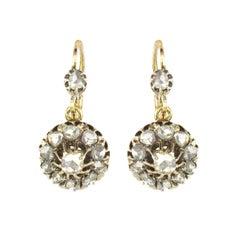 French Napoleon 3 1850s 18 Carat Rose Gold Diamond Drop Earrings