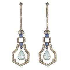 Art Deco Style Vermeil Diamond Sapphire Aquamarine Diamond Long Dangle Earrings