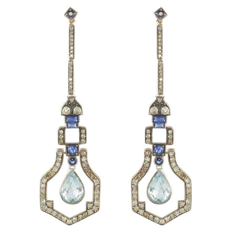 Art Deco Style Vermeil Diamond Sapphire Aquamarine Diamond Long Dangle Earrings