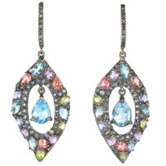 Modern Tanzanite Topaz Sapphires Amethysts Blackened Silver Dangle Earrings