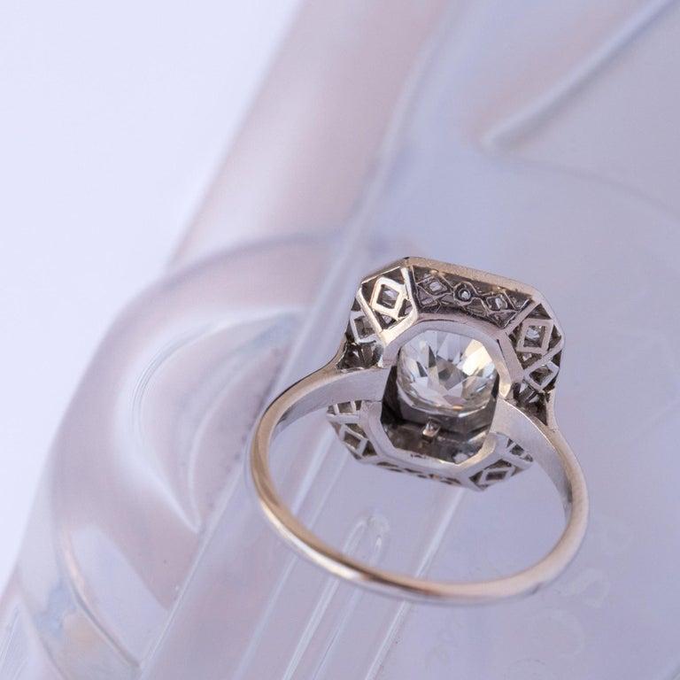 Women's Art Deco French 2.60 Carat Diamond Platinum Ring For Sale