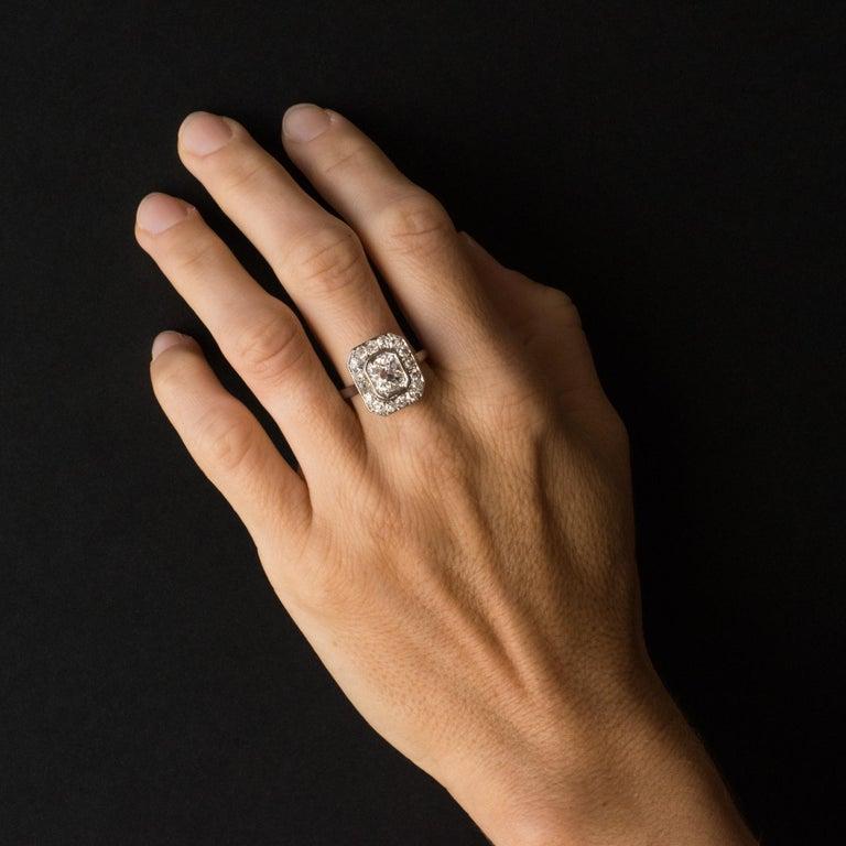 Art Deco French 2.60 Carat Diamond Platinum Ring For Sale 4