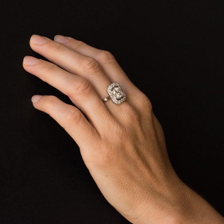 Art Deco French 2.60 Carat Diamond Platinum Ring For Sale 1