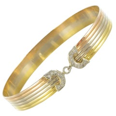 Modern Three Gold Diamonds Bangle Bracelet
