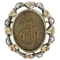 French 19th Century Gold Silver Hair Memory Brooch