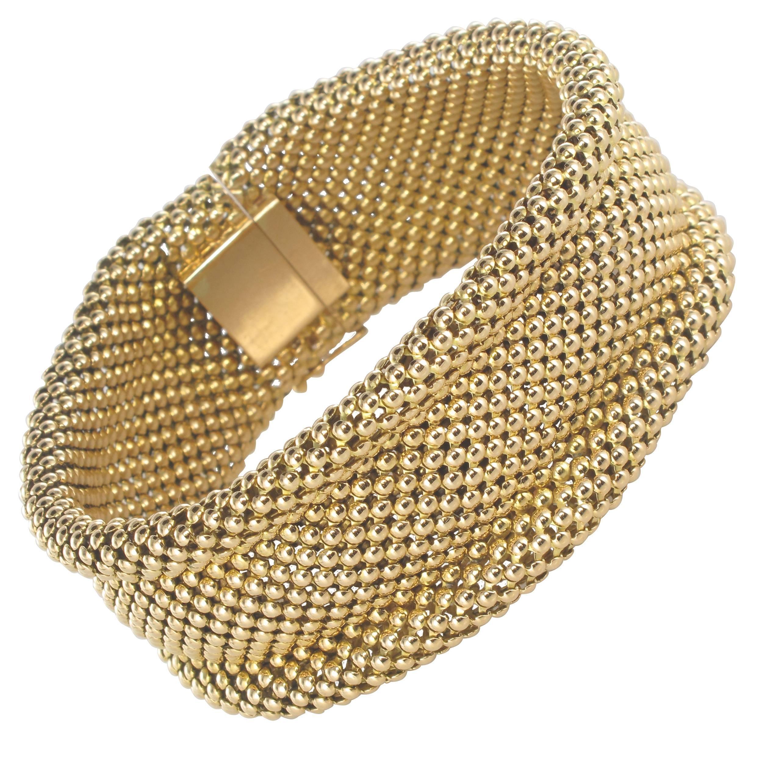 1960s French 18 Carat Yellow Gold Flexible Bracelet