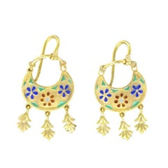 Italian Castellani Style Vermeil Enameled Dangle Earrings
