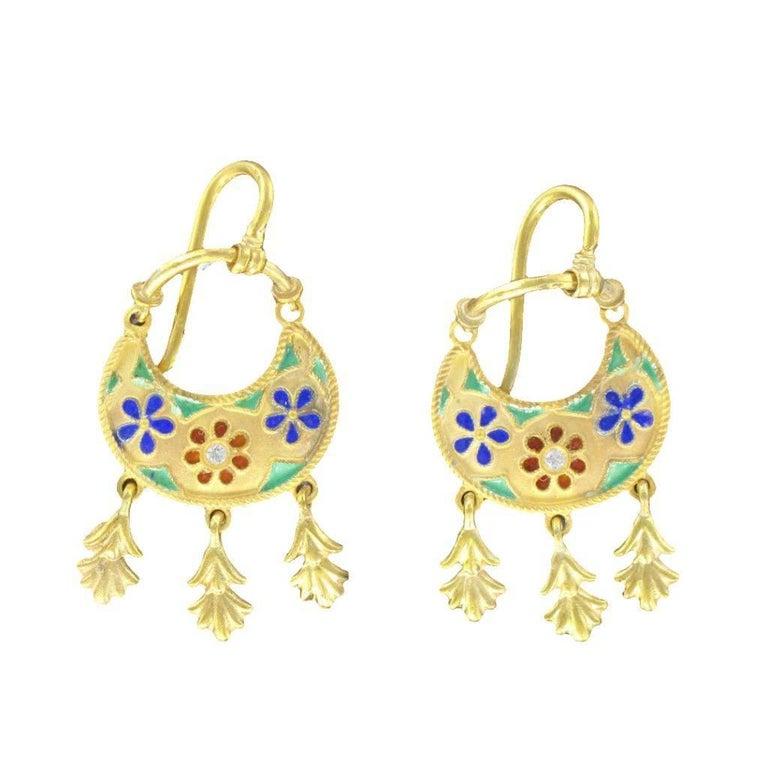 Italian Castellani Style Vermeil Enameled Dangle Earrings