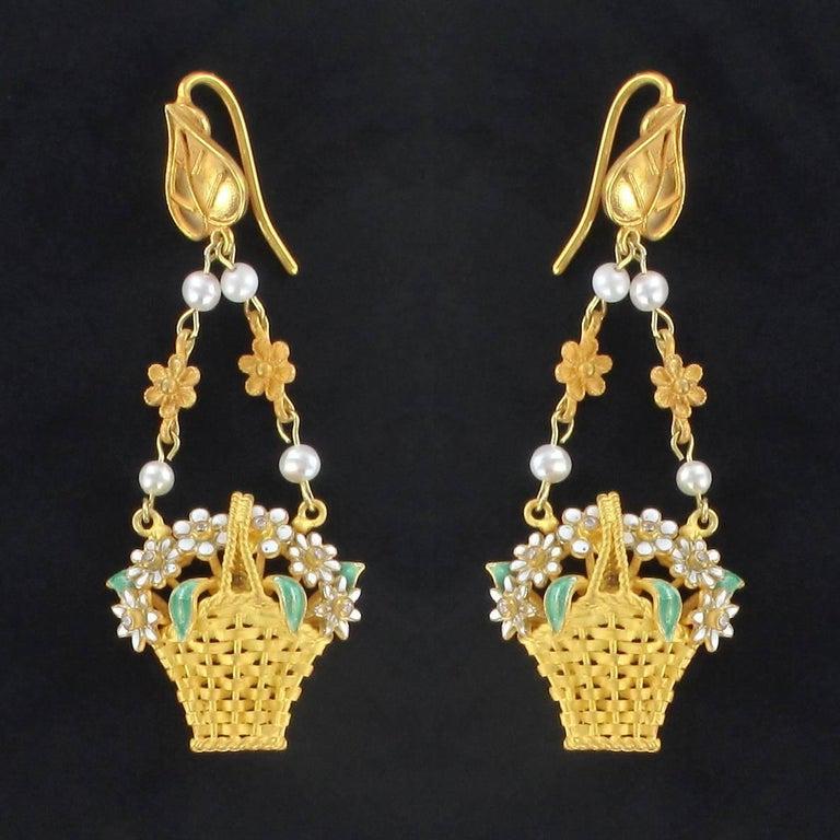Greek Revival Italian  Matte Vermeil Enamel Flower Basket Dangle Earrings For Sale