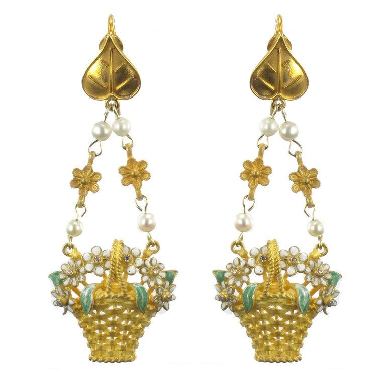 Italian  Matte Vermeil Enamel Flower Basket Dangle Earrings
